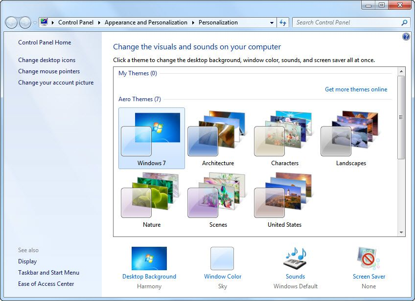 How to save customized themes in Windows 7 | Tear in eye
