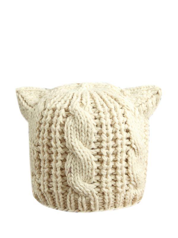 Comfortable Cat Ear Solid Stretch Knit Hats   Vogue   Pinterest