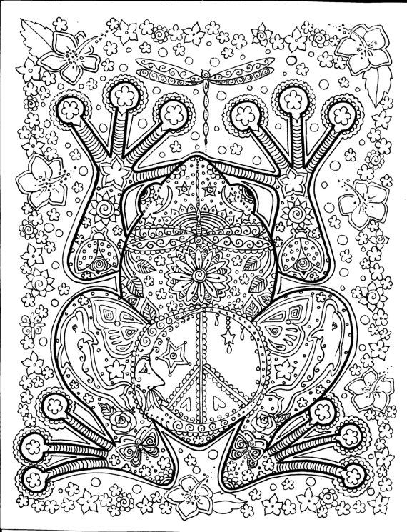 INSTANT DOWNLOAD Peace Frog Coloring Page Easy to use download | A ...