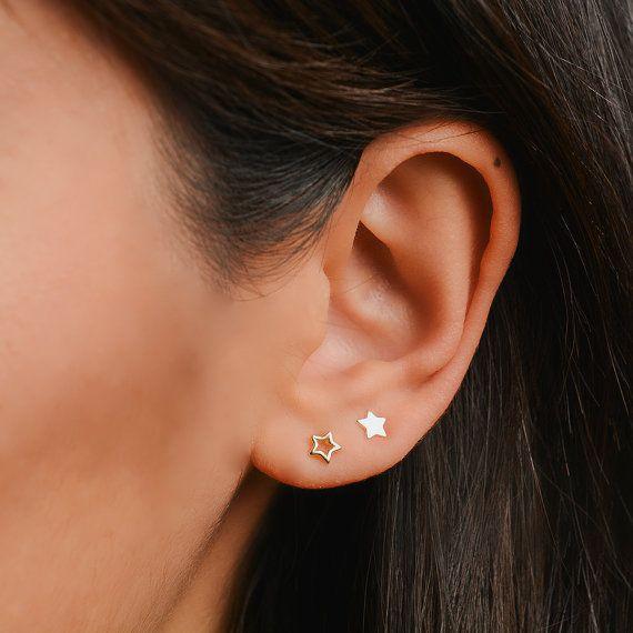 26180719b57e0 Star studs - Outline star stud earrings - Tiny star earrings - Thin ...