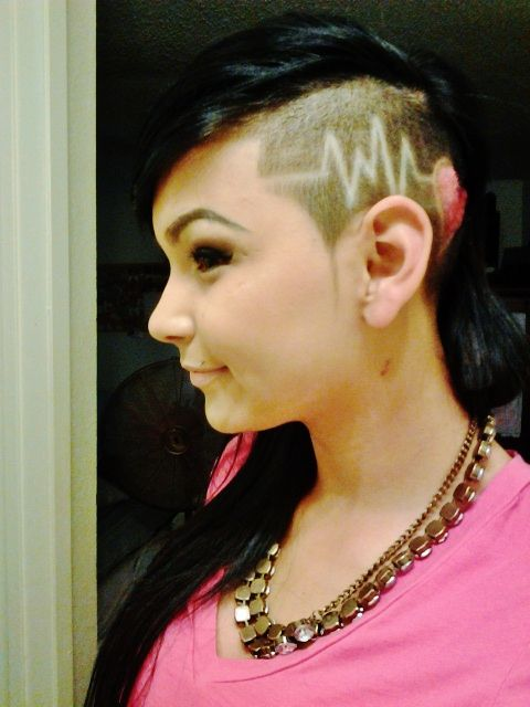 Sideburn fetish shaved woman