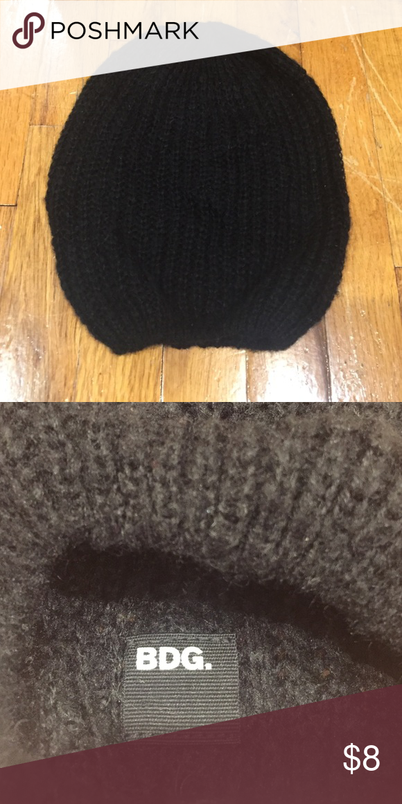 3b7f6cbb4dc BDG slouchy beanie Urban Outfitters BDG black knit slouchy beanie hat Urban  Outfitters Accessories Hats