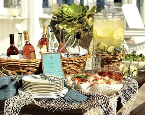 Beach summer party ideas love the basket used for drinks for Decoration theme jardin