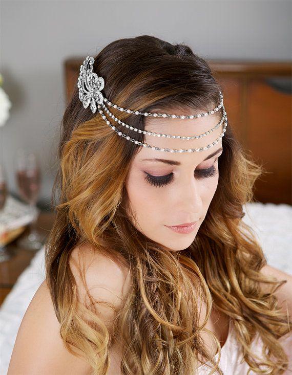 Rose Gold Bridal Halo Bridal Head Chain Gold Crystal Halo Headpiece Bohemian bride Rhinestone Headband