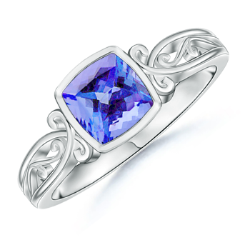 Angara Vintage Inspired Cushion Blue Sapphire Solitaire Ring in Platinum