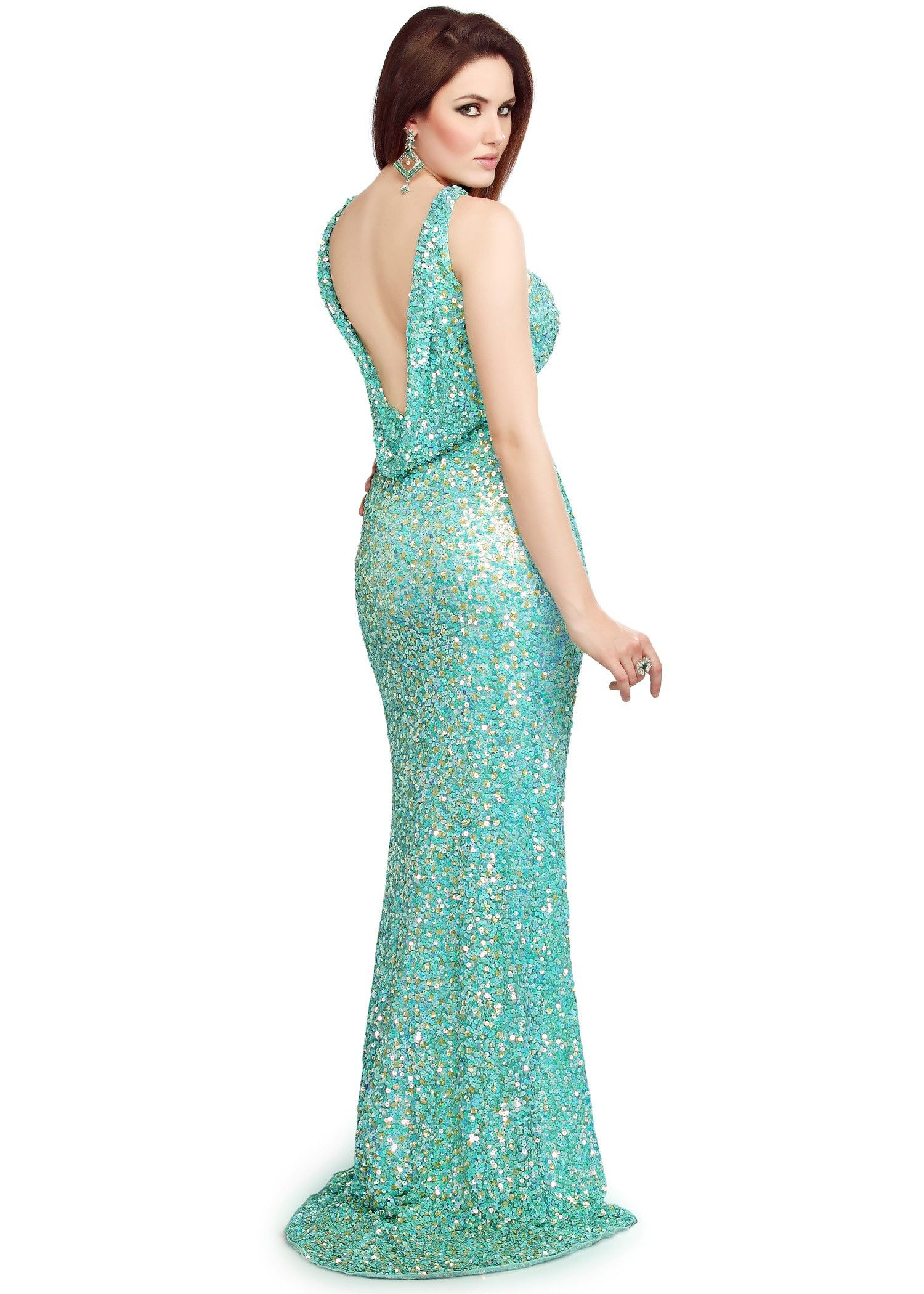 Primavera 9695 - Sparkly Aqua Open Back Sequin Prom Dress | Bringing ...