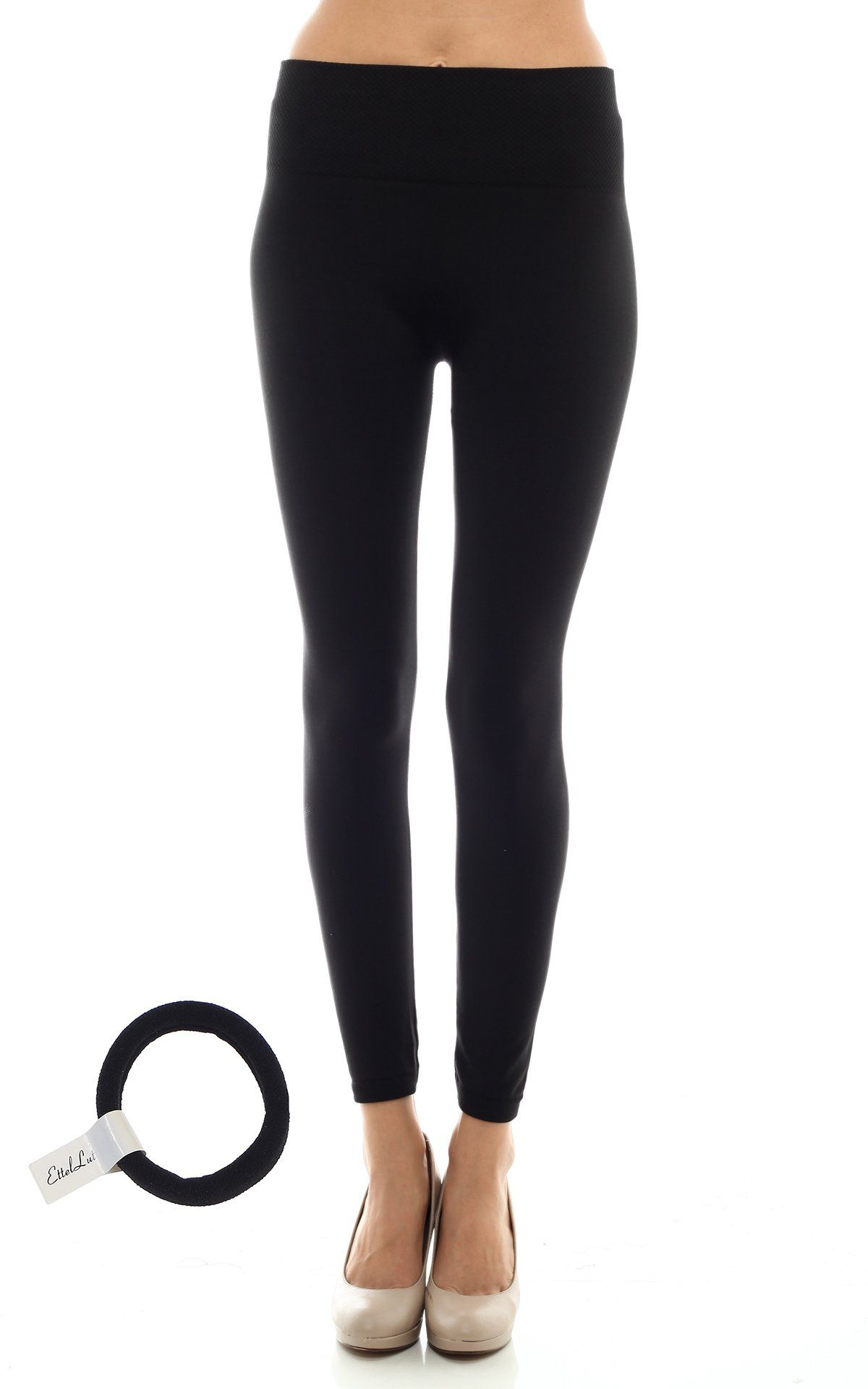 10889c34456b76 High Waist Fleece Lined Leggings with EttelLut Hair Band BLACK PS. One Size  fits all