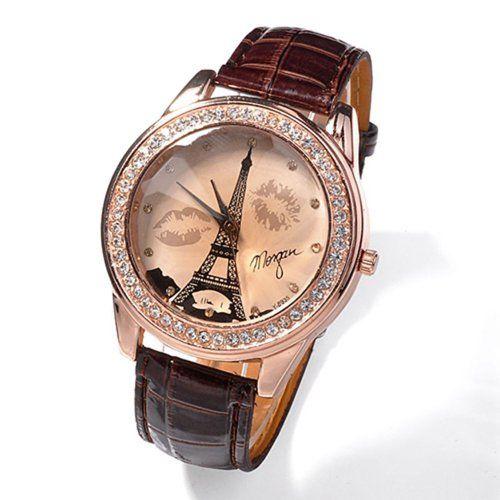 Damen Mädchen champagnerfarben Dial Lovers Lippen Eiffelturm Armbanduhr Braun