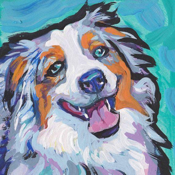 Australian Shepherd Art Portrait Print Of Modern Dog Painting Aussie Pop Art Bright Colors 8x8 Painting Dog Paintings Art