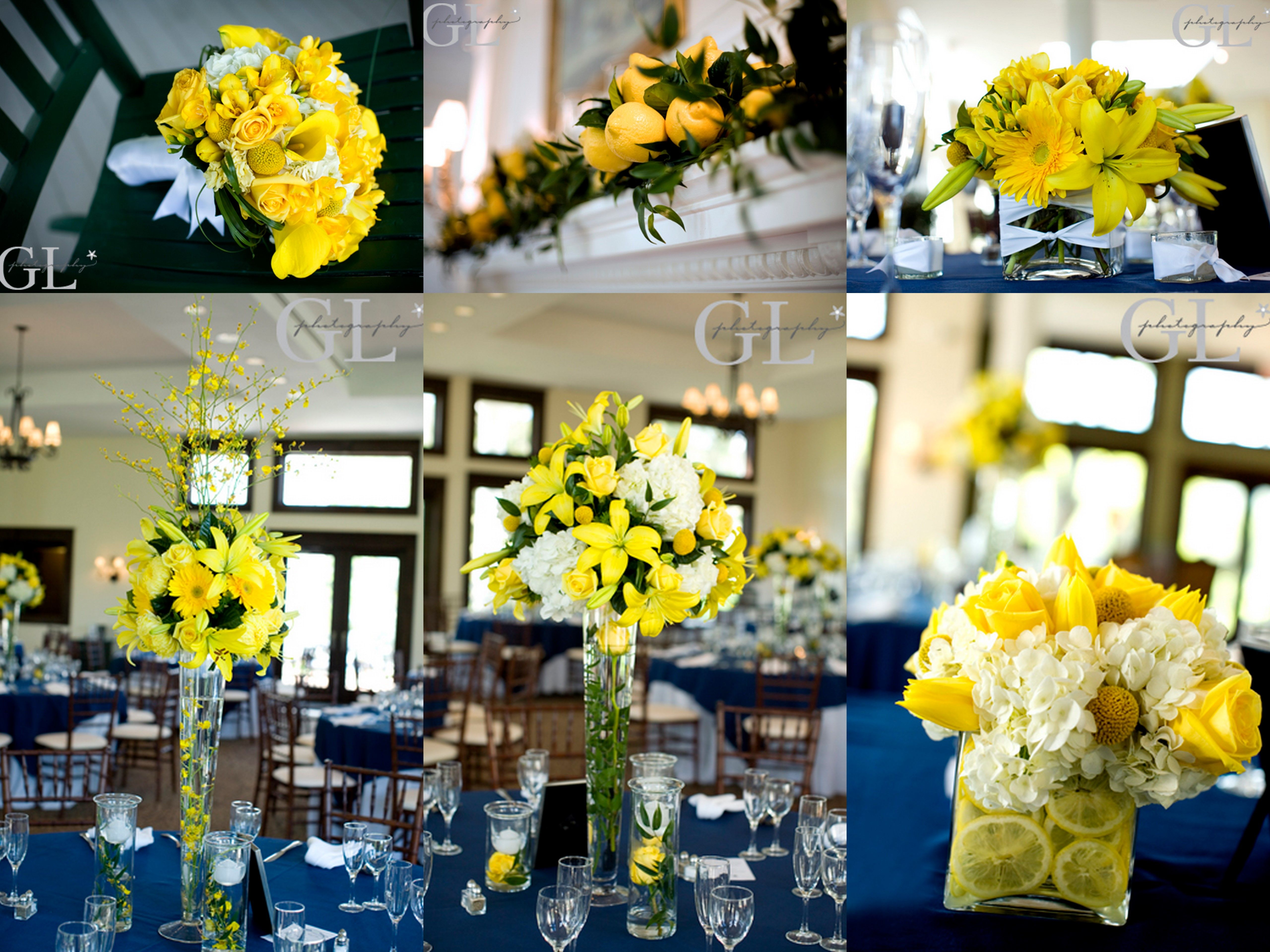 Navy and yellow wedding decorations