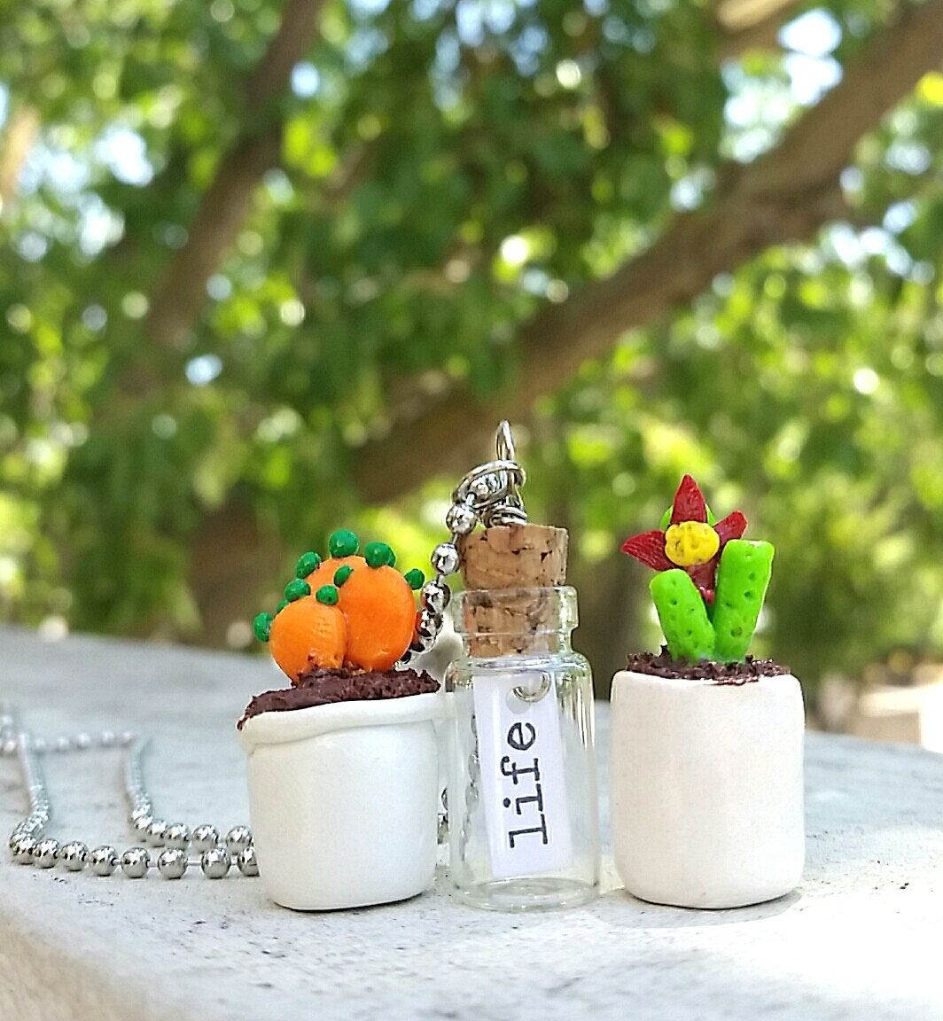 cactus plant necklace,message in a bottle necklace, polymer clay, miniature plant, unique necklace, unique charms, unique pendants, charms by Cthruglass on Etsy