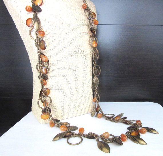 Extra lange Charm Necklace koper bladeren & door TheGatsbyGals