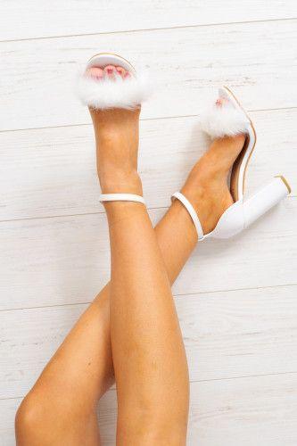 White PU Fluffy Block Heels - Alecia