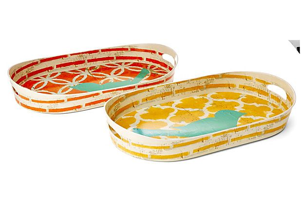 "26"" Colorful Bird Trays, Asst. of 2 on OneKingsLane.com  Perfect trays for the Moroccan Summer Chloe + Isabel Collection.    View Moroccan Summer Jewelry by C+I at http://www.LainysCandiBoutique.com"