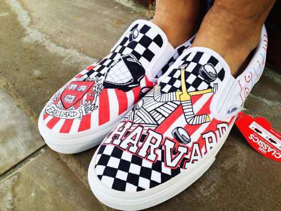Harvard University Kicks For Men S Hockey So Ready To See These Out And Ready To Go Vans College Shoes Print Vans