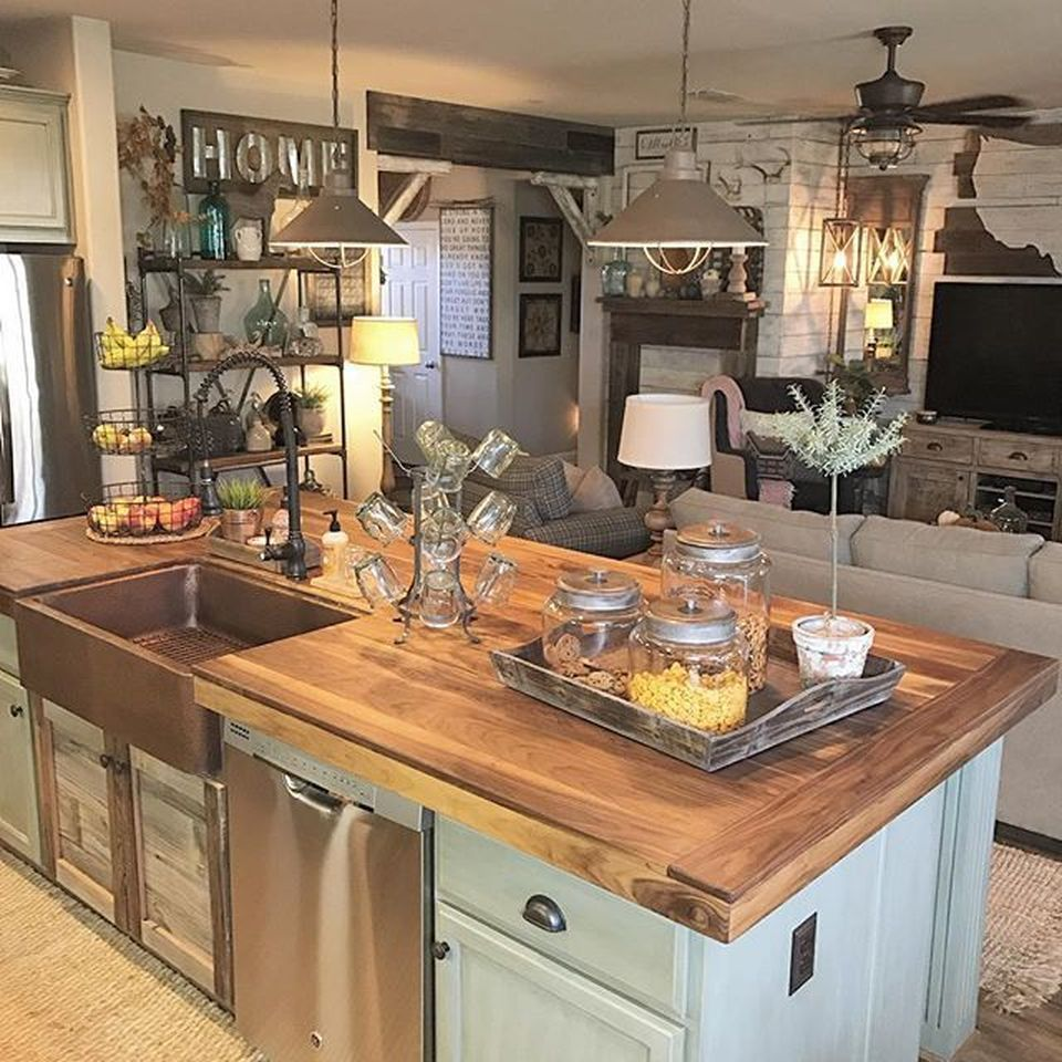 Country Kitchen Decorating Ideas: Vintage Farmhouse Kitchen Island Inspirations 22 In 2019
