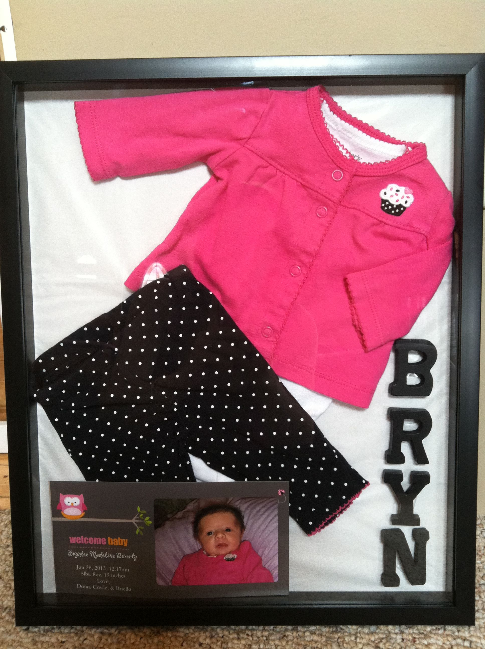 Shadow Box Baby Brynlee S Outfit And Birth Annoucement Baby