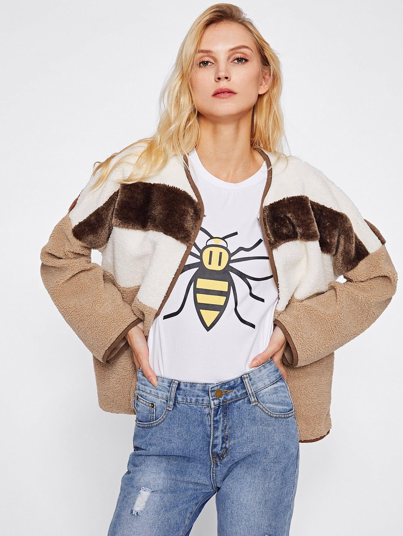 Contrast binding open front fleece jacket ii fashion combinations