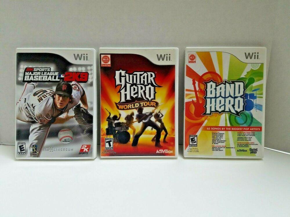 Lot Of 3 Wii Games MLB 2K9 Baseball Guitar Hero World Tour