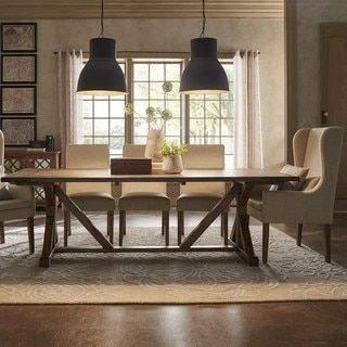 Paloma Rustic Reclaimed Wood Rectangular Trestle Farm Table By - Rectangular farm dining table