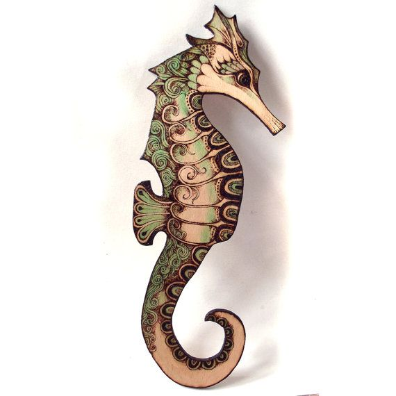 Seahorse Wall Hanging Pyrography Wood Burning By GlenoutherCrafts