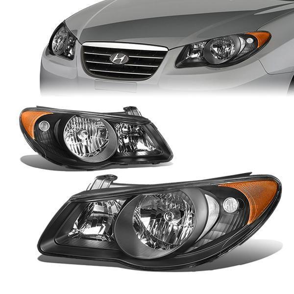 D Motoring 07 09 Hyundai Elantra Headlights Black Housing Clear Lens Amber Corner Plug N Play Pair Hyundai Elantra Elantra Hyundai