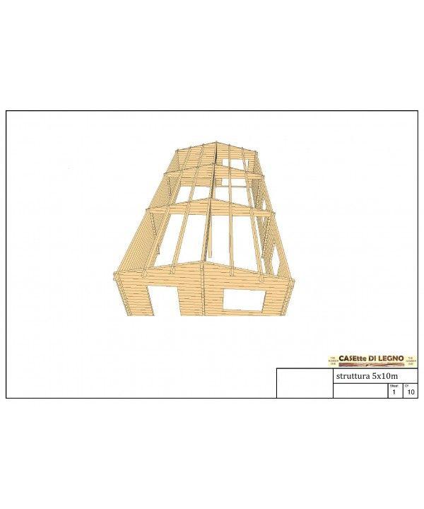 CASA 5x10m unico vano 68mm in legno Legno, Casa di legno