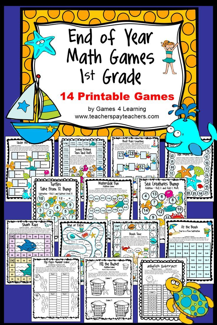 End of Year Math Games First Grade by Games 4 Learning - This collection of  end of year games contains 14 printable games that review a variety of first  ...