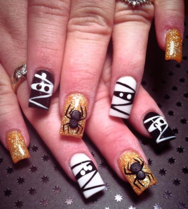 Halloween-themed acrylic nails | Nails, Love nails ...