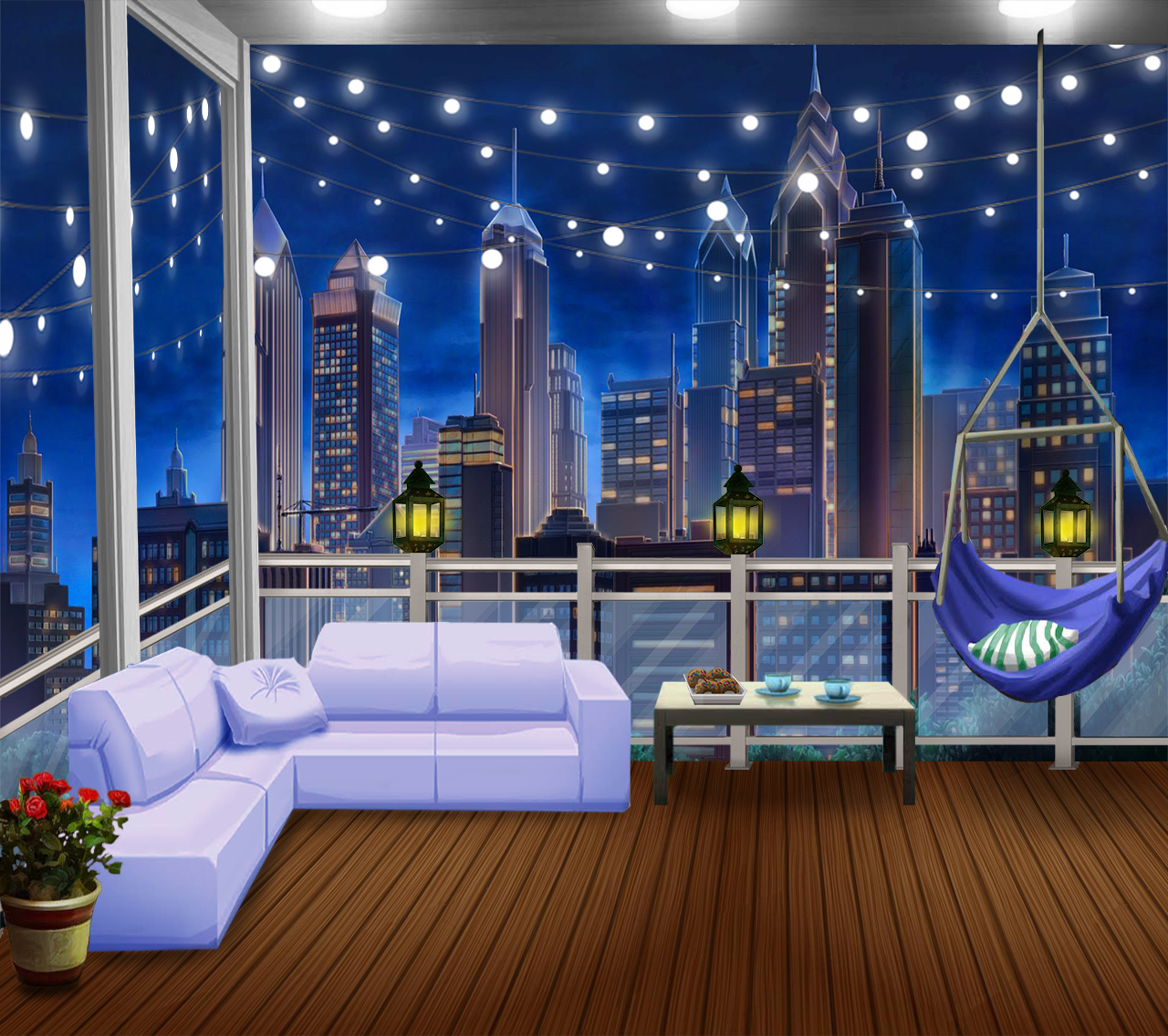 Ext Cozy Balcony 1 Night Anime Background Anime Backgrounds