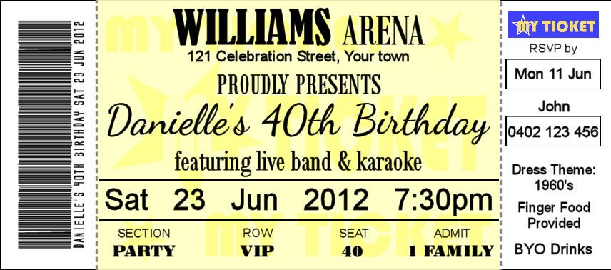 16th 18th 21st 30th 40th Concert Ticket Style Birthday Invitations