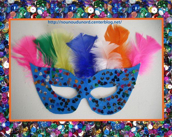 Masque loup bleu paillette et plume r alis e par soline 3ans pour faire le carnaval chez - Masque de carnaval a imprimer ...