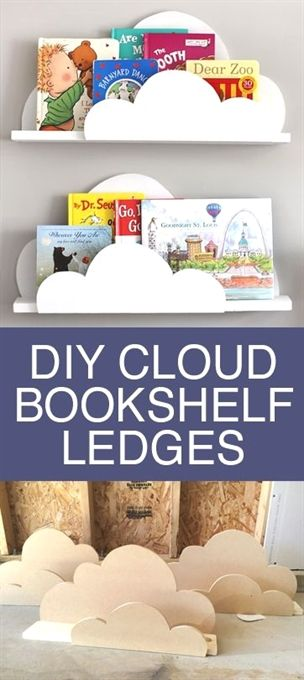 DIY Cloud Bookshelf Ledges - Kids Bedrooms and Nursery Decor images