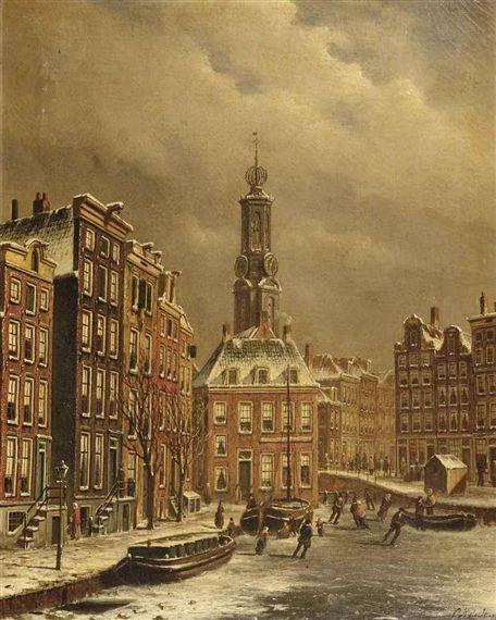 Oene Romkes de Jongh - Winters gezicht op een bevroren gracht nabij de Munttoren te Amsterdam