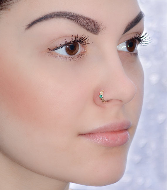2mm Emerald Nose Ring Stud Gold Nose Hoop Tragus Earring