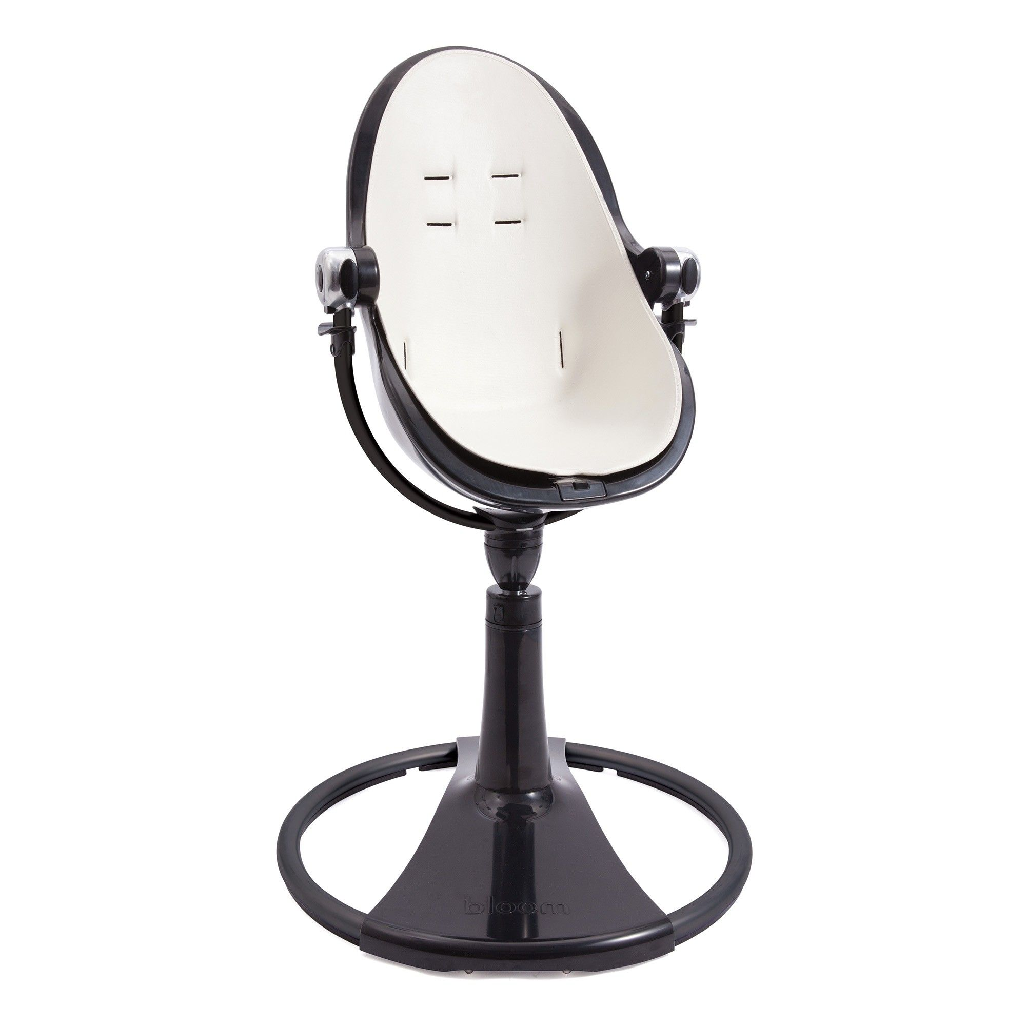 Bloom Black Fresco Chrome Baby High Chair Coconut White leather