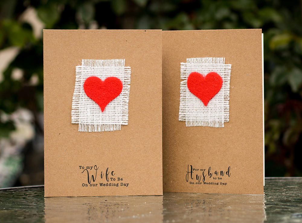 rustic handmade wedding card for the bride and groom bride to