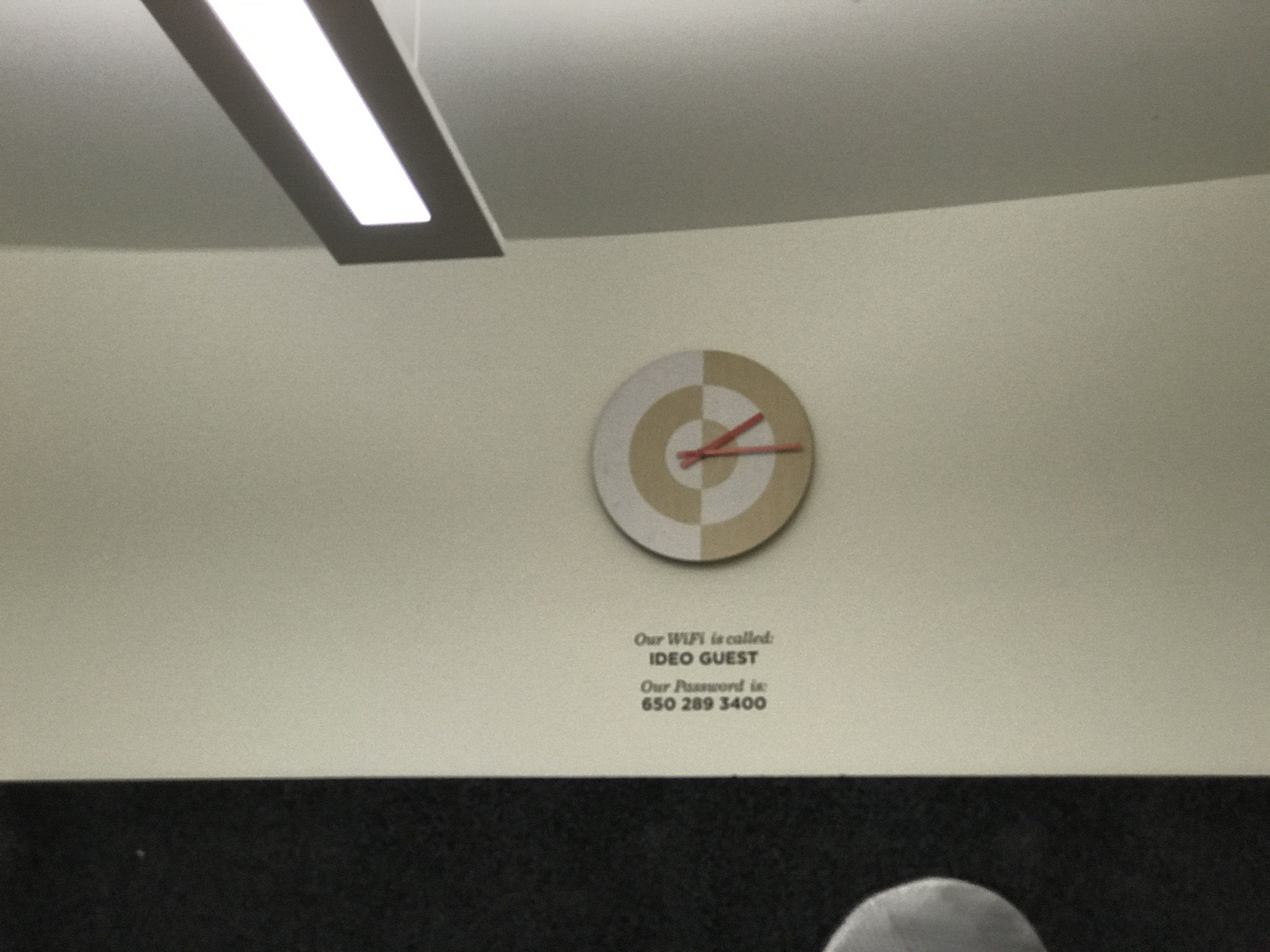 Great idea to put guest wireless code on the wall from ideo