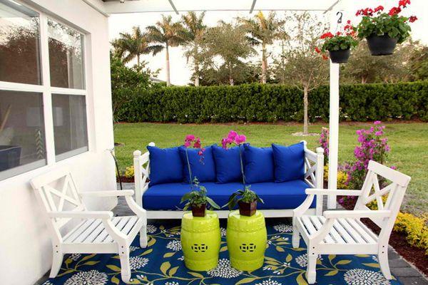 20 Wonderful Outdoor Garden Furniture Ideas In Wood Home Design Lover Blue Patio Furniture Patio Design Blue Patio