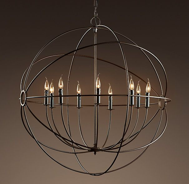 Foucaults Iron Orb Chandelier Rustic Iron Large – Extra Large Chandeliers