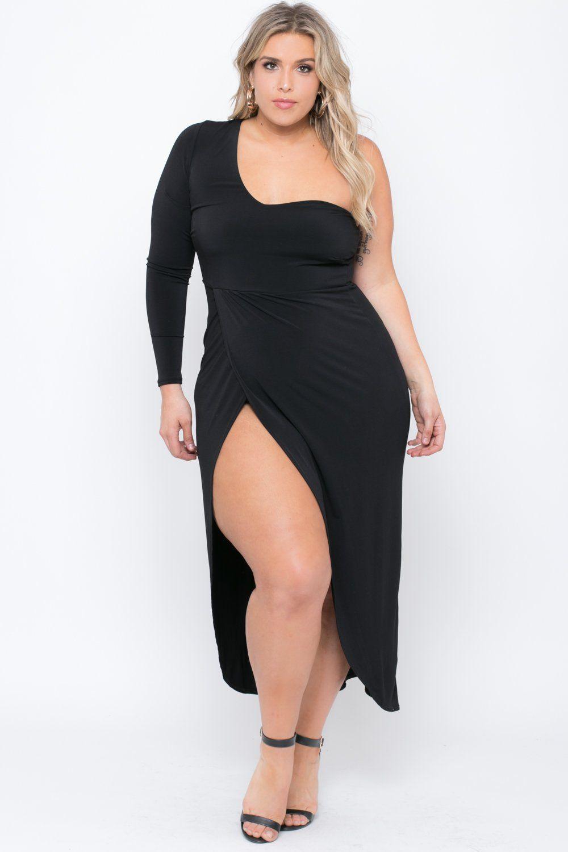 Plus Size One Shoulder Adriana Dress - Black | Curves | Curvy dress ...