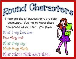 What should i write in a comparative essay between a round character and a flat character?