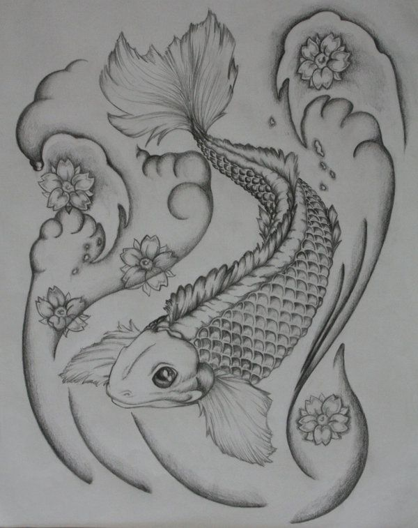 Black And White Koi Tattoo By Bullettkat17 On Deviantart Koi Tattoo Japanese Dragon Tattoo Koi Fish Tattoo