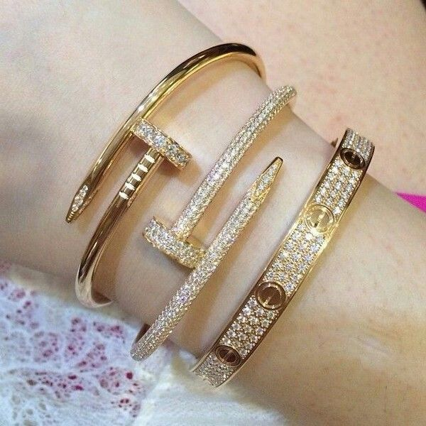 Cartier Crystal Nail Bangle Love