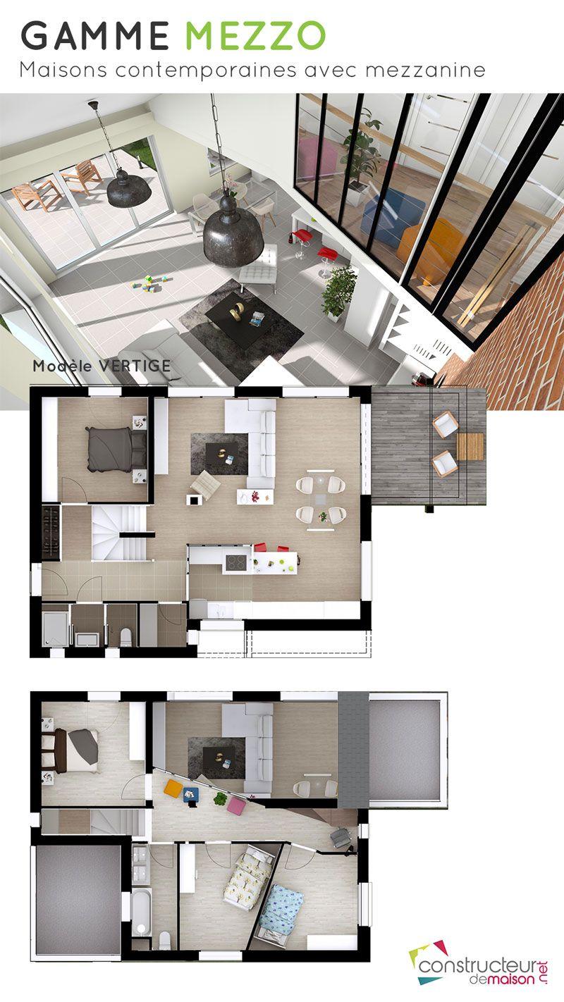 Maison d\u0027architecte avec mezzanine au style très