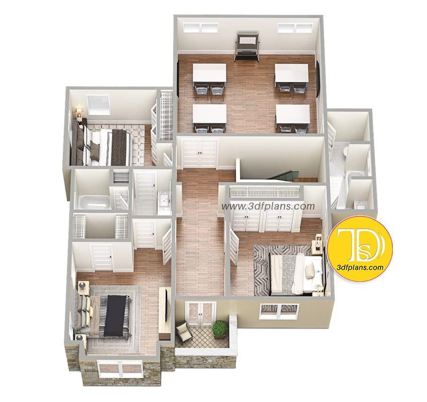 3d Floor Plan 2nd Floor With Study Floor Plans Rendered Floor Plan Sims House Design
