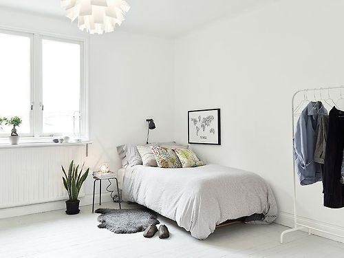 See walls and bedspread oatmeal white not stark white for Minimalist bedroom for teenager