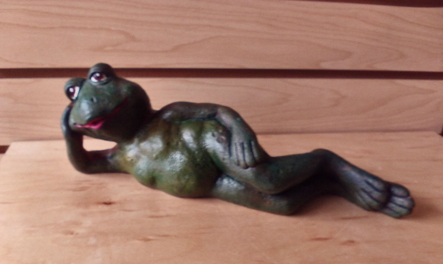 Outdoor statue reclining frog Ceramic Frog statue Garden frog statue toad frog Fairy garden friend gift for her women's gift idea frog decor by MapleHillCeramics on Etsy