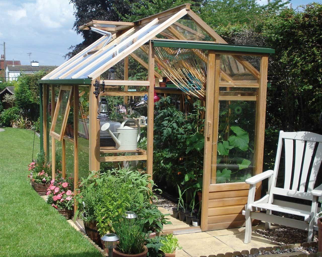 Serre de jardin en bois et verre trempé 4.4m² - Juliana + Table en ...