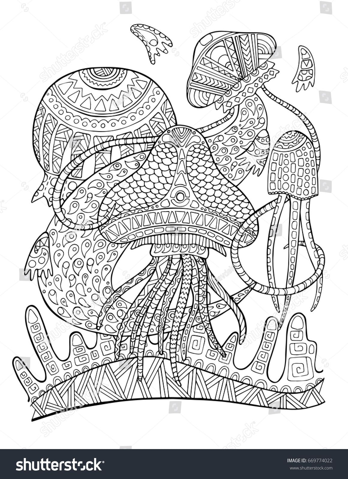 Jellyfish Underwater Coloring Page. Tropical Fish Doodle Vector  Illustration. Exotic Animal Coloring Page For